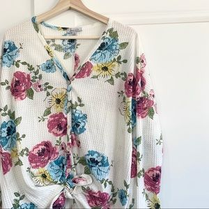 White Birch Floral Front Tie Waffle Print Top